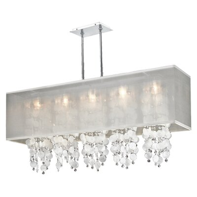 Salerna 5-Light Chrome Kitchen Island Pendant Shade Color: White