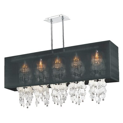 Salerna 5-Light Chrome Kitchen Island Pendant Shade Color: Black
