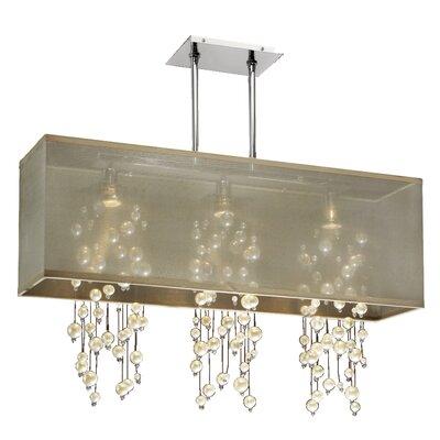 Salerna Modern Rectangular Shaded Trimmed 3-Light Crystal Chandelier Shade Color: Taupe