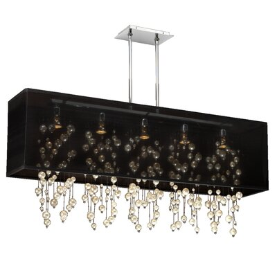 Salerna Modern Rectangular Shaded Trimmed 5-Light Crystal Chandelier Shade Color: Black