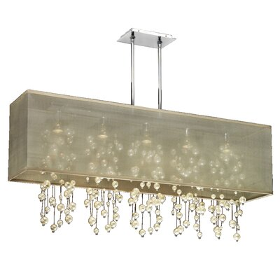 Salerna Modern Rectangular Shaded Trimmed 5-Light Crystal Chandelier Shade Color: Taupe