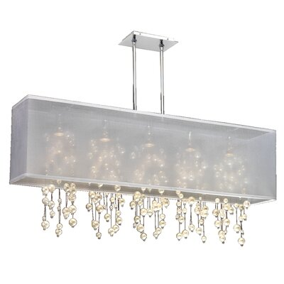 Salerna Modern Rectangular Shaded Trimmed 5-Light Crystal Chandelier Shade Color: White