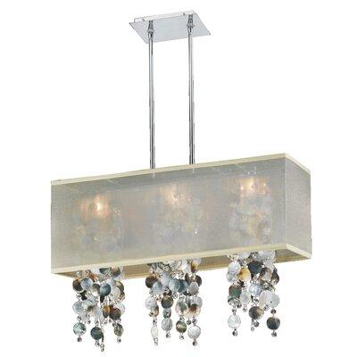 Salerna Rectangular Shaded Trimmed 3-Light Crystal Chandelier Shade Color: Taupe