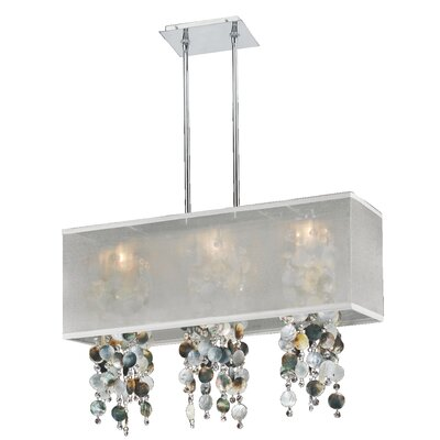Salerna Rectangular Shaded Trimmed 3-Light Crystal Chandelier Shade Color: White