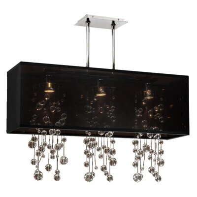Salerna Rectangular Shaded Trimmed 3-Light Crystal Chandelier Shade Color: Black