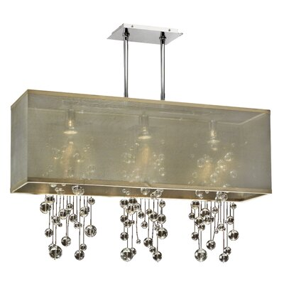 Salerna Rectangular Shaded Trimmed 3-Light Crystal Chandelier Shade Color: Taupe