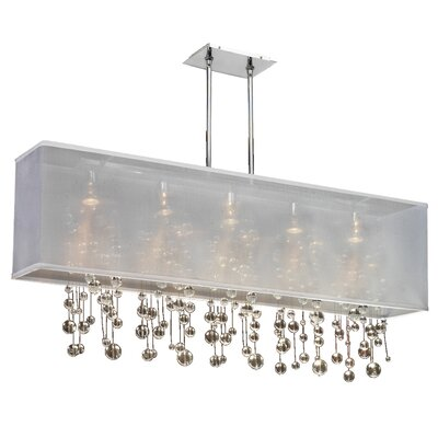Salerna Rectangular Shaded Trimmed 5-Light Crystal Chandelier Shade Color: White