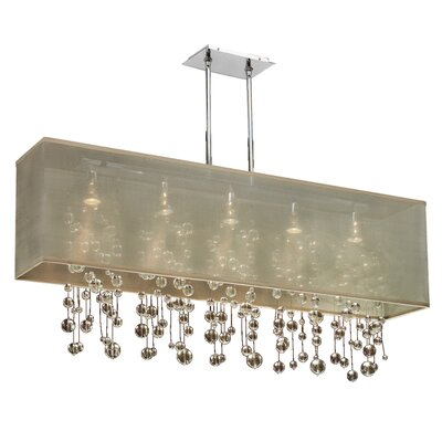 Salerna Rectangular Shaded Trimmed 5-Light Crystal Chandelier Shade Color: Taupe