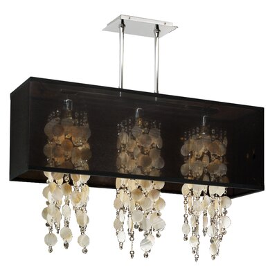Salerna Modern Rectangular Shaded Trimmed 3-Light Crystal Chandelier Shade Color: Black