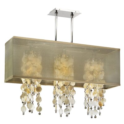 Salerna Modern Rectangular Shaded Trimmed 3-Light Crystal Chandelier Shade Color: Taupe