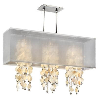 Salerna Modern Rectangular Shaded Trimmed 3-Light Crystal Chandelier Shade Color: White