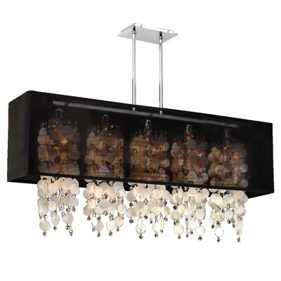 Salerna Rectangular Shaded Trimmed 5-Light Crystal Chandelier Shade Color: Black