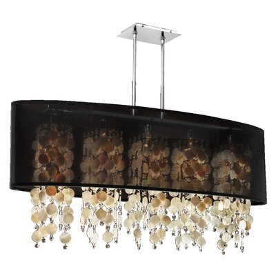 Kenlee Modern 5-Light Kitchen Island Pendant Shade Color: Black
