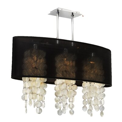 Kenlee Elliptical 3-Light Kitchen Island Pendant Shade Color: Black