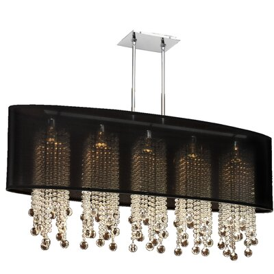 Kenlee Elliptical 5-Light Kitchen Island Pendant Shade Color: Black