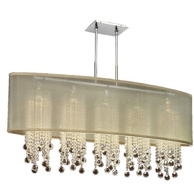 Kenlee Elliptical 5-Light Kitchen Island Pendant Shade Color: Taupe