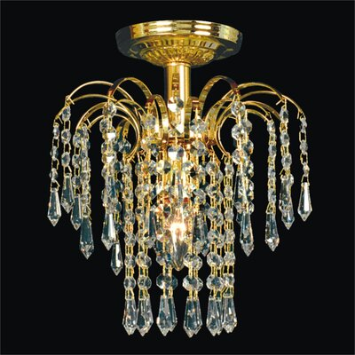 Cascade 1-Light Semi Flush Mount Crystal: Signature Clear Crystal, Metal Finish: Gold