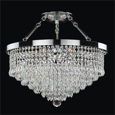 Spellbound 5-Light Semi-Flush Mount Crystal: Danube Clear Crystal, Size: 18.5 H x 19 W