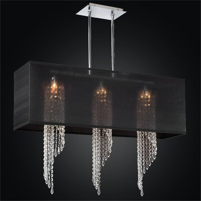 Ocean Wave 3-Light Duo Mount Pendant Crystal: Swarovski Elements Clear Crystal