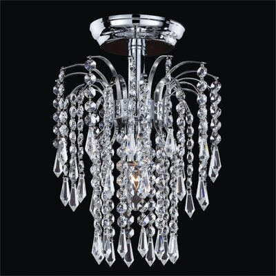 Cascade 1-Light Semi Flush Mount Crystal: Signature Clear Crystal, Metal Finish: Silver Pearl