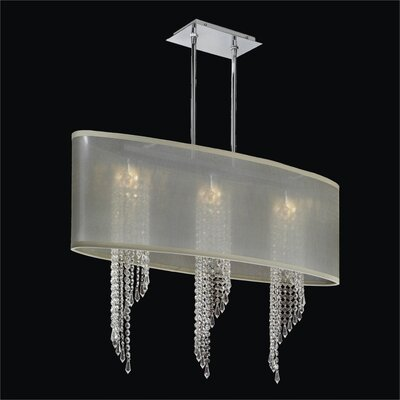 Wavelength 4-Light Duo Mount Pendant Crystal: Danube Clear Crystal