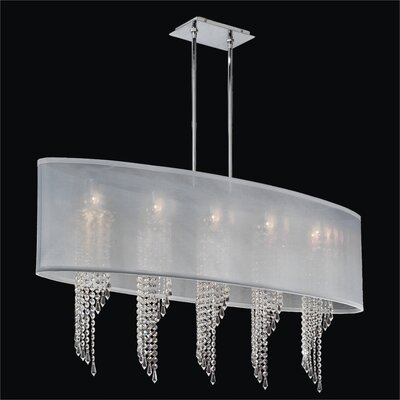 Wavelength 5-Light Duo Mount Pendant Crystal: Danube Clear Crystal, Shade: White
