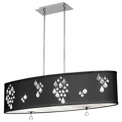 Rhiannon 8-Light Kitchen Island Pendant Shade Color: Black