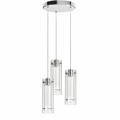 Orly 3-Light Cascade Pendant Shade Color: Jewel Tones White