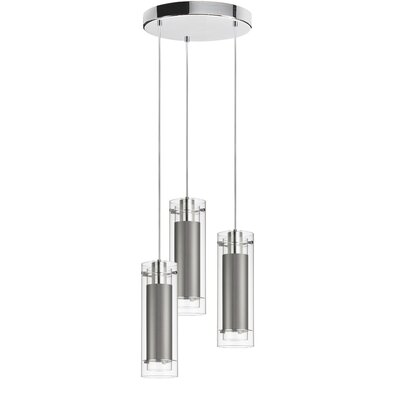 Orly 3-Light Cascade Pendant Shade Color: Steel Silk Glow