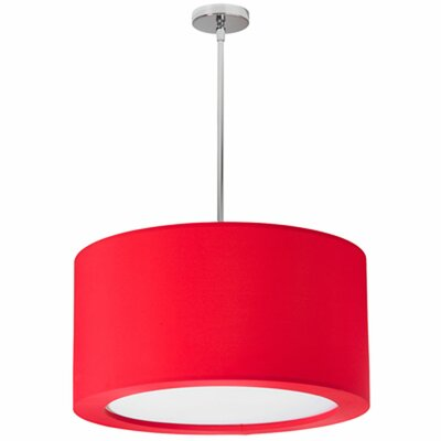 Jasmine 3-Light Drum Pendant Shade Color: Red