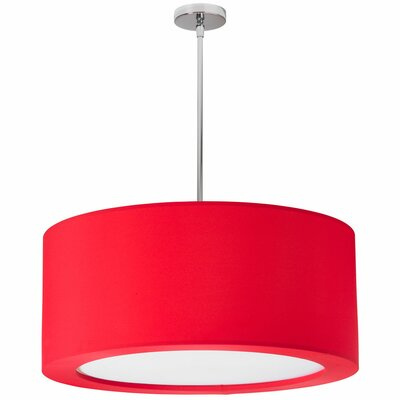 Jasmine 4-Light Drum Pendant Shade Color: Red