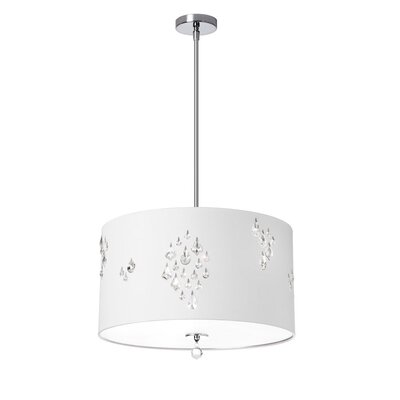 Rhiannon 3-Light Drum Pendant Shade Color: White