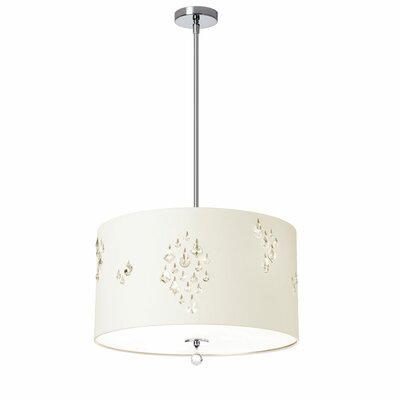Rhiannon 3-Light Drum Pendant Shade Color: Ivory