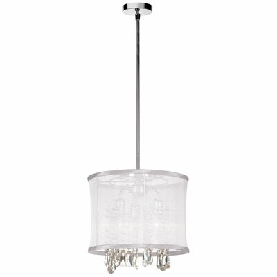 Bohemian 3-Light Drum Pendant Shade Color: White