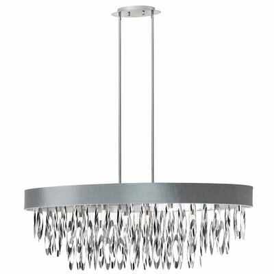 Allegro 8-Light Drum Pendant Shade Color: Silver