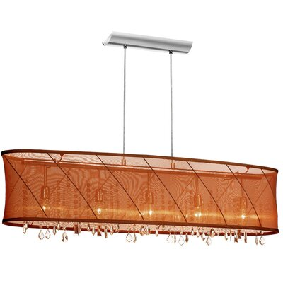 Saffron 5-Light Kitchen Island Pendant Shade Color: Chocolate/Gold