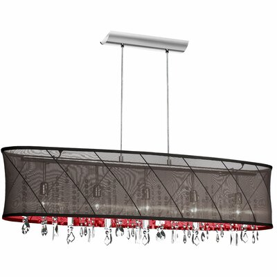 Saffron 5-Light Kitchen Island Pendant Shade Color: Black/Red