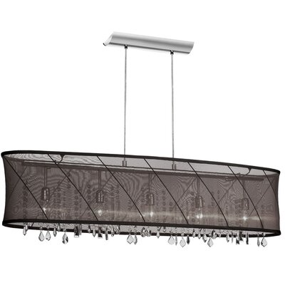 Saffron 5-Light Kitchen Island Pendant Shade Color: Black/Silver