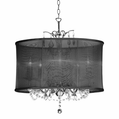 Vanessa 5-Light Drum Pendant Shade Color: Black