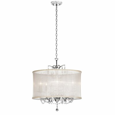 Vanessa 5-Light Drum Pendant Shade Color: Oyster