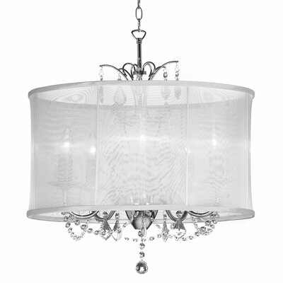 Vanessa 5-Light Drum Pendant Shade Color: White