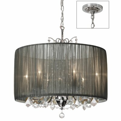 Victoria 5-Light Drum Pendant Shade Color: Tiara Silver
