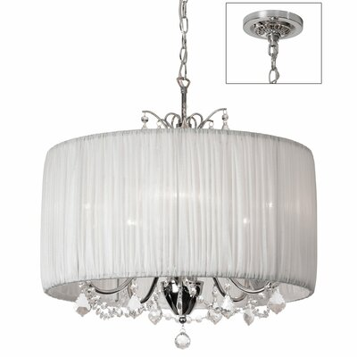 Victoria 5-Light Drum Pendant Shade Color: White