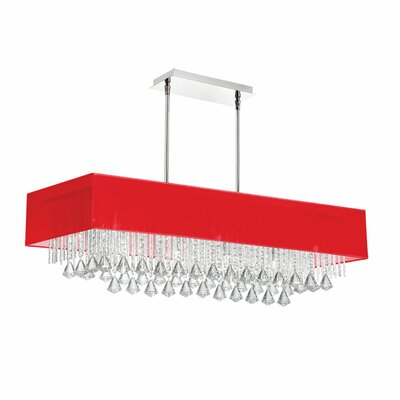 Jacqueline 10-Light Kitchen Island Pendant Shade Color: Red