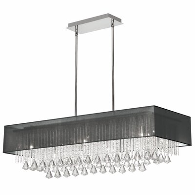 Jacqueline 10-Light Kitchen Island Pendant Shade Color: Black