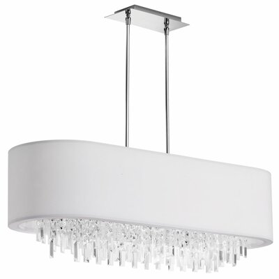 Jasmine 8-Light Kitchen Island Pendant Shade Color: White