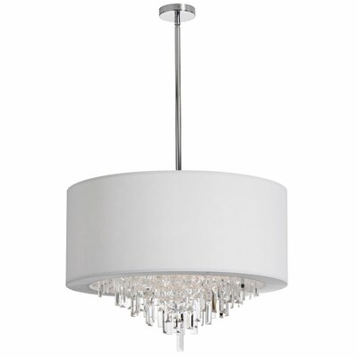 Jasmine 8-Light Drum Pendant Shade Color: White