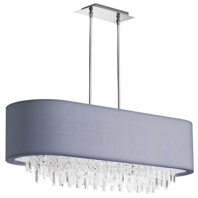 Jasmine 8-Light Kitchen Island Pendant Shade Color: Silver