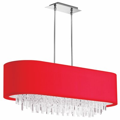 Jasmine 8-Light Kitchen Island Pendant Shade Color: Red