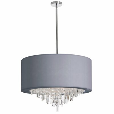 Jasmine 8-Light Drum Pendant Shade Color: Silver